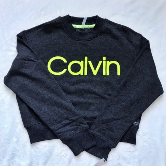 Calvin Klein - Cropped Sweater with Neon Logo